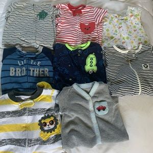 0/3 Month Boys Footie Pajama Bundle